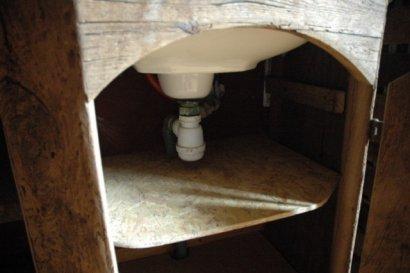 meuble de salle de bain pour vasque en ch ne ancien bross. Black Bedroom Furniture Sets. Home Design Ideas