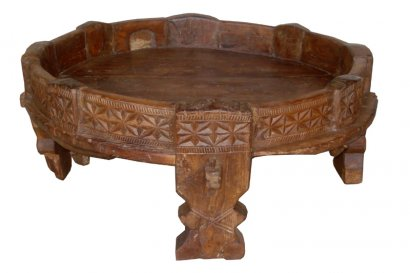 table basse ronde en teck ancienne meule grains ac 247. Black Bedroom Furniture Sets. Home Design Ideas