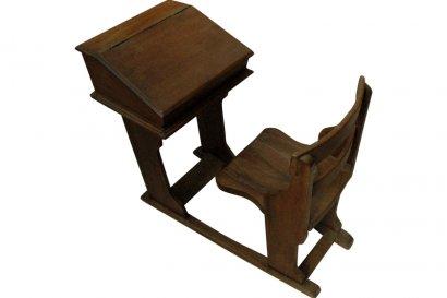 Petit bureau d 39 colier enfant et sa chaise ancien en teck paris belgiqu - Bureau enfant belgique ...