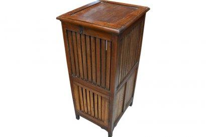 Coffre linge ou meuble de salle de bain ancien en teck - Coffre de salle de bain ...