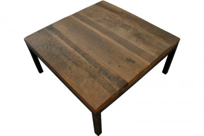 Grande table basse de salon en teck type carr e bois m tal for Grande table de salon en bois