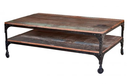 Table basse de salon rectangulaire ancienne en teck style for Table salon bois metal