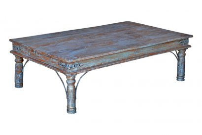 table basse de salon rectangulaire ancienne patine bleue. Black Bedroom Furniture Sets. Home Design Ideas