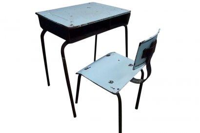 Bureau ancien style vintage en metal bois for Petit bureau metal
