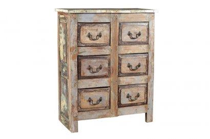 Meuble indien 6 tiroirs bois ancien for Meubles indiens anciens